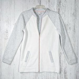 A New Day white heather gray jersey bomber jacket